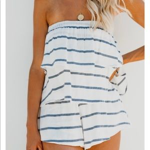 Strapless striped romper with pockets